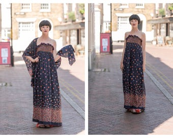 Vintage Jean Varon 1970's 70's John Bates Blue Strapless Maxi Dress and Shawl Novelty Print Smocked Top with Pockets S M