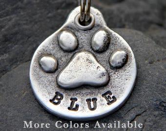 Custom Pet ID Tag - Dog Tags - Pet Tag - Pet Name Tag - Paw Print - Handmade Dog ID Tag - Hand Stamped