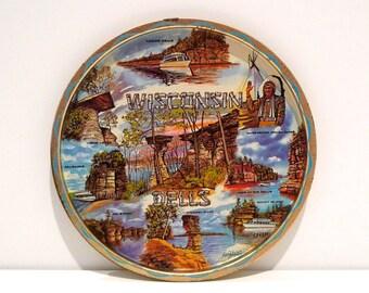 Wisconsin Dells Souvenir Serving Tray Vintage Ken Haag Metal Decorative Plate 70s Winnebago Indian Chief Rocky Island Chimney rock Palisades