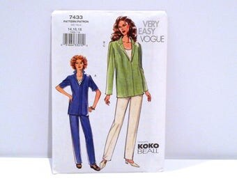 Tunic Top / Pants Vogue 7433 Sewing Pattern Koko Beall Never Used Pullover Shirt Tank Top Casual Spring Pantsuit Size 14 16 18 Plattermatter