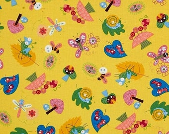 ON SALE Bee Fabric, Bug Fabric, Caterpillar  Fabric, Yellow Fabric, Bugs by Timeless Treasures, 01988