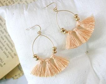 Peach Tassel Earrings, Boho Tassel Earrings, Summer Fun Earrings, Fringe Earrings,Birthday Gift, Vacation Earrings