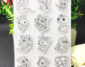 Chinese Zodiac Cute Animals Clear Stamp Set