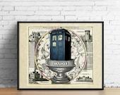 TARDIS himmlischen Karte Kunstdruck, Arzt Dr. Who Tierkreis Konstellation Terrarium Poster britischen England Polizei stand, Wand Art Dr. Who Geschenke