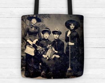 Antique WITCHES Tote Bag, Halloween Candy Tote, Market Bag, Sepia Witch Photograph Art Print, Vintage Halloween Decor, Wicca Book Bag