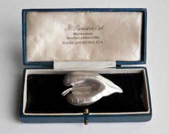 Vintage Scandinavian Sterling Silver Leaf Brooch, Denmark DS Hermann Siersbol