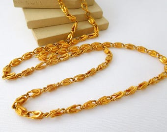 """Retro Yellow Gold Tone 30"""" Long Scroll Chain Necklace DD23"""