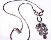 "Trifari Waterfall Pendant Necklace Rhinestones Silver Metal Signed Pat Pend 20"" Vintage 1940s"