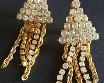 "Rhinestone Dangle Earrings Clip Ons Gold Metal Chains Wedding Prom 2"" Vintage"