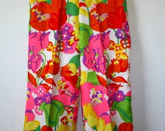 Clearance Sale Vintage Silk Psychedelic Floral Print Pants