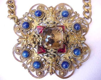 Gorgeous Art Deco Era Renaissance Style Jeweled Necklace