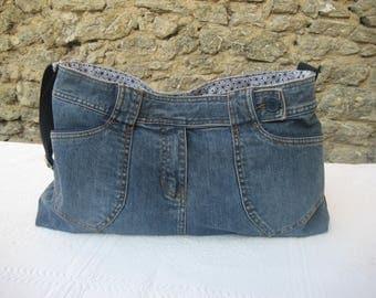 Shoulder bag denim vrecycle made from a skirt