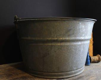 Vintage Galvanized Bucket With Handle // Rustic Old Mason's Bucket