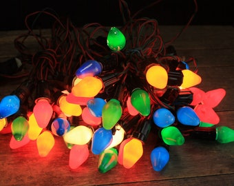 Vintage C-7 Christmas Light Strands with Bulbs // 4 Strands 44 Lights // Vintage Christmas