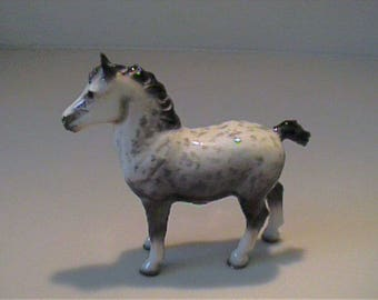 "Vintage miniature 3"" Hagen Renaker gray and white draft Percheron horse"