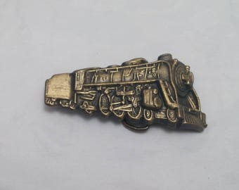 1980s Steam Train Locomotive Railroad Brass Belt Buckle Serial Number 4045, Made in USA