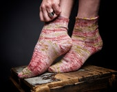 Knitting pattern, english and french, Spring Equinox, socks, double sole, toe-up, cables