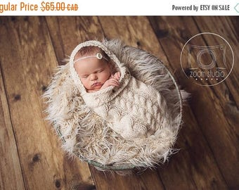 Happy Birthday sale Knitted cocoon for newborn, photos props.