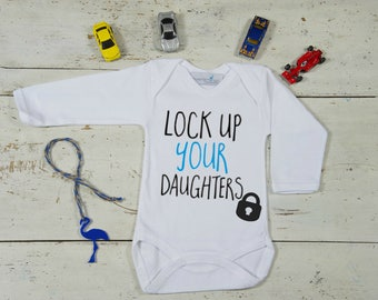 Lock Up Your Daughters Baby Boy Romper-Baby Boy's Bodysuit-Funny baby onesie-Baby boy cute clothes-Infant Boy Clothing-Hipster Boy Shirt