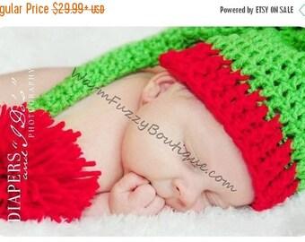 SUMMER SALE Baby Solid Elf Long Tail Hat - U Choose Colors - Crochet Newborn Beanie Boy Girl Costume Christmas  Photo Prop Cap Outfit