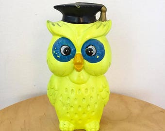 1960s / 70s Chalkware Neon Yellow Owl Bank  Made in Japan