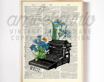 Write Your Story Vintage Typewriter Blue Flowers Collage Author Inspired Print on an Unframed Upcycled Bookpage
