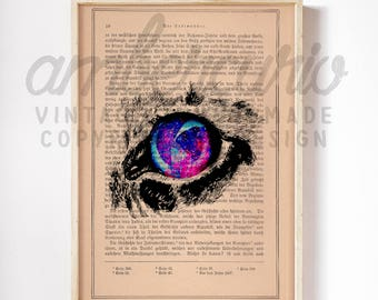 Starry Eyed Cat Space Inspired Original Collage Print on an Unframed Upcycled Bookpage