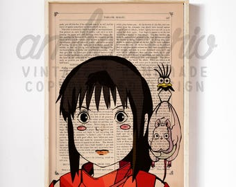 Chihiro Sen and Friends Spirited Away Studio Ghibli Inspired Print on a Unique Unframed Upcycled Bookpage