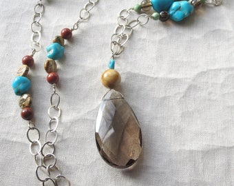 Long Multi Gemstone Sterling Silver Necklace
