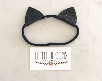 Black Glitter Cat Ears - nylon headband