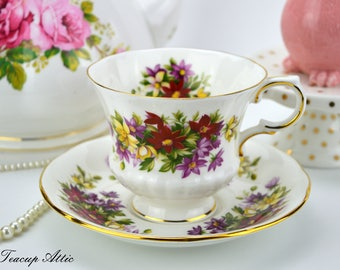 """Paragon """"Flower Festival"""" Teacup and Saucer Set, Replacement China, English Bone China Tea Cup, ca 1952-1963"""