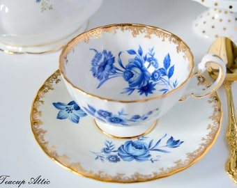 Aynsley Teacup and Saucer Set With Cobalt Blue Roses, English Bone China Tea Cup With Blue Roses, Replacement China, ca. 1934