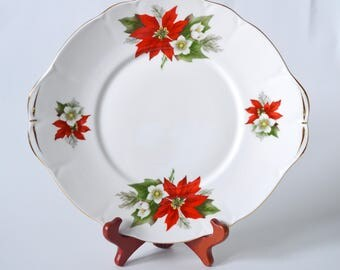 Duchess Poinsettia Cake Plate, English Bone China Cookie Plate, Christmas Plate, Afternoon Tea Party, ca. 1950
