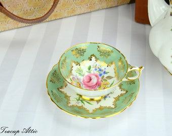 Paragon Sage Green Teacup and Saucer, English Bone China Teacup, Cabinet Teacup, ca. 1963