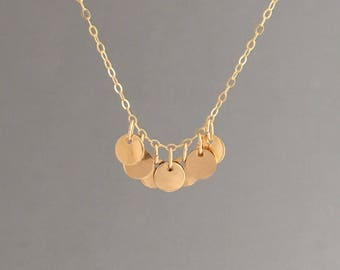 Seven Disc Necklace in Gold, Rose Gold, or Silver