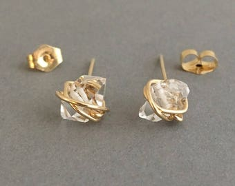 Wire-Wrapped Herkimer Diamond Post Earrings in Gold, Rose Gold, or Silver