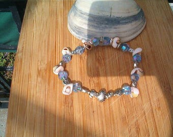 Shell & Blue Bead Bracelet, Summer, Beach, Cottage Chic, Stretch, White Blue Silver Beaded