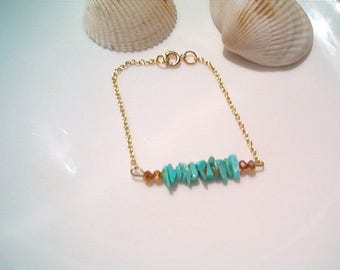 Gold Bar & Beaded Turquoise Bracelet, Enhanced Turquoise, Dainty Chain Bracelet, Aqua Blue and Gold, Handcrafted