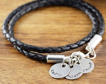 Personalized Leather Bracelet - Mothers Jewelry - Mother Bracelet - Grandmother Gift - Mothers Bracelet - Name Bracelet - Mother's Gift
