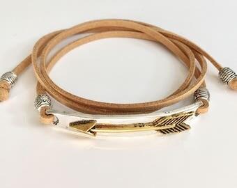 wrap bracelet, beachy boho jewelry, arrow bracelet