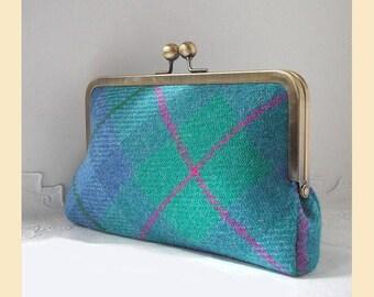 Harris Tweed clutch bag, tartan clutch, tweed purse, pink silk, tartan handbag, tartan purse, optional personalisation
