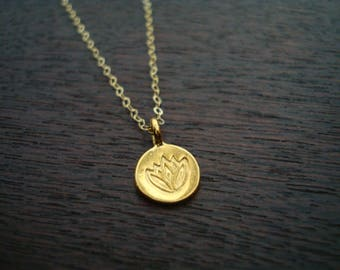 Tiny Gold Vermeil Lotus Necklace // Yoga Jewelry, Buddhist Jewelry, Women's Jewelry, Lotus Necklace, Gold Necklace