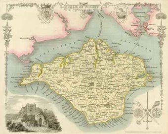 RESERVED LISTING Isle of Wight 1837. Antique Printable Map - Instant Digital Download