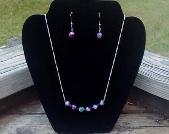 Natural Ocean Jade Shades of Purple Beads & Amethyst Crystals on Sterling Silver Chain Necklace with Matching Earrings