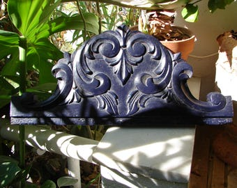 Antique French,small carved wooden pediment,night or navy blue, painted acanthus leaves,carved header