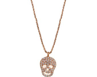 Skull Charm Diamond Pendant Necklace 14k gold