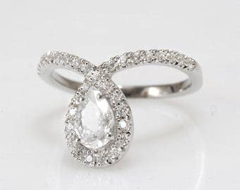 Pear Engagement Ring, Halo Ring, 14K White Gold Ring, 11/2 Carat Pear Cut Moissonite Ring, Art Deco Ring, Unique Engagement Ring