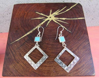 90s Geometric Dangle Earrings Silver and Turquoise Earrings Southwestern Earrings Diamond Drop earrings Southwestern Modern