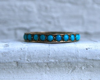 RESERVED - Unique Vintage 9K Yellow Gold Turquoise Wedding Band Eternity Band Ring.