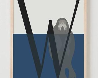 Animal Alphabet, W is for Walrus Fine Art Print